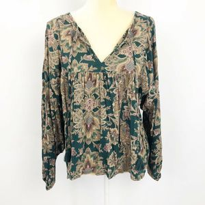 Denim & Supply Paisley Blouse Green
